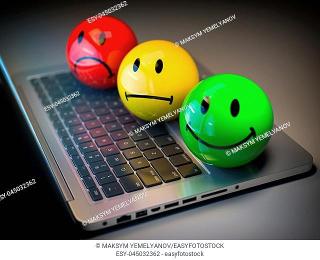 Customer satisfaction h feedback rating concept. Colored smile emoticons on laptop keyboard. 3d illustration