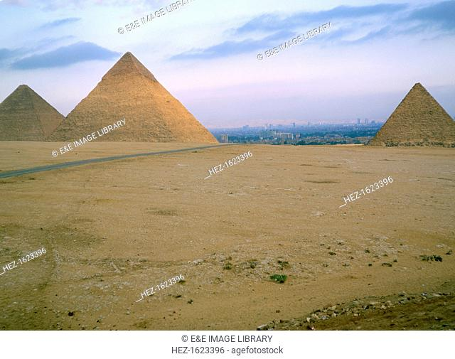 The Great Pyramids of Cheops, Chephren and Mycerinus, Giza, Egypt. The Pyramid of Cheops is the only surviving one of the Seven Wonders of the Ancient World