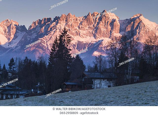 Austria, Tyrol, Kitzbuhel, Kitzbuheler Horn Mountains, dawn