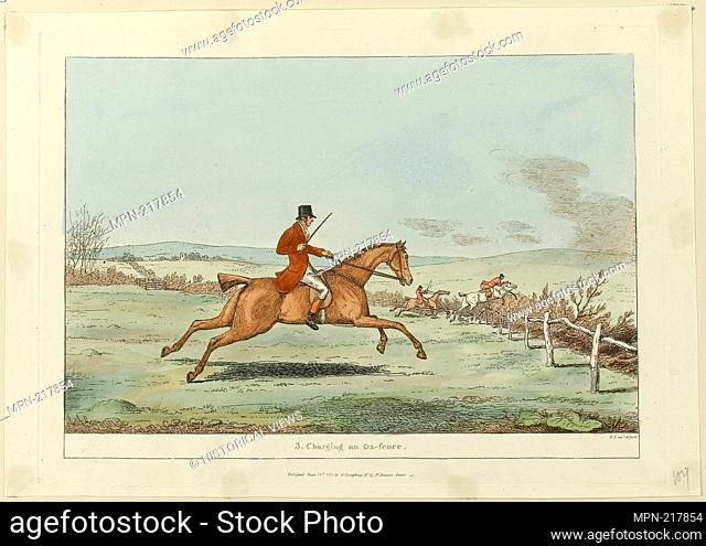 Charging an Ox-fence, plate three from Indispensable Accomplishments - published June 24, 1811 - Sir Robert Frankland (English