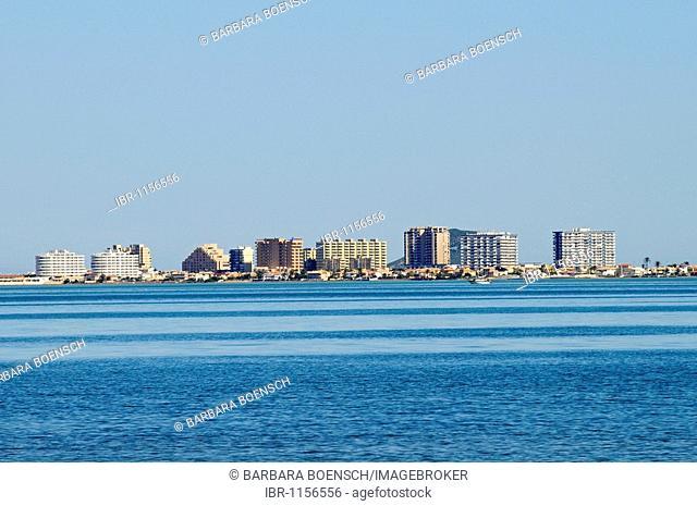 High-rise buildings, lagoon, inland sea, La Manga, Mar Menor, Murcia, Spain, Europe