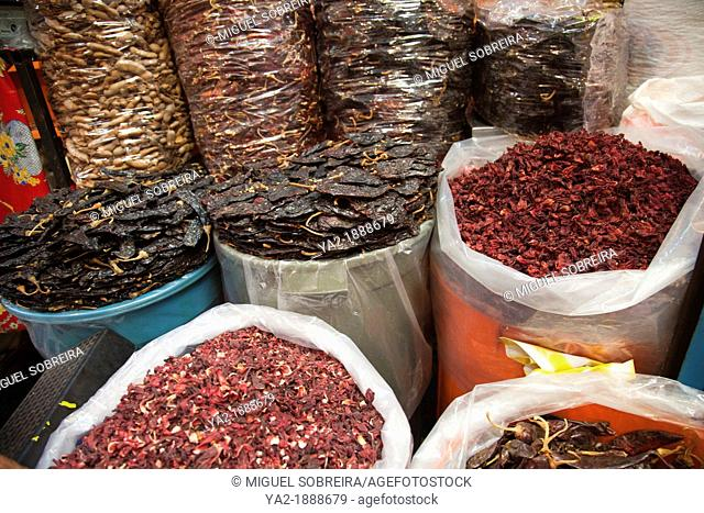 Bags of Dried Hibiscus or Jamaica Flower Petals, Tamarind and Chilis at Xochimilco Market - Mexico City DF