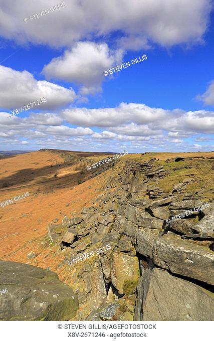 Stanage Edge near Hathersage, Peak District National Park, Derbyshire, England, UK