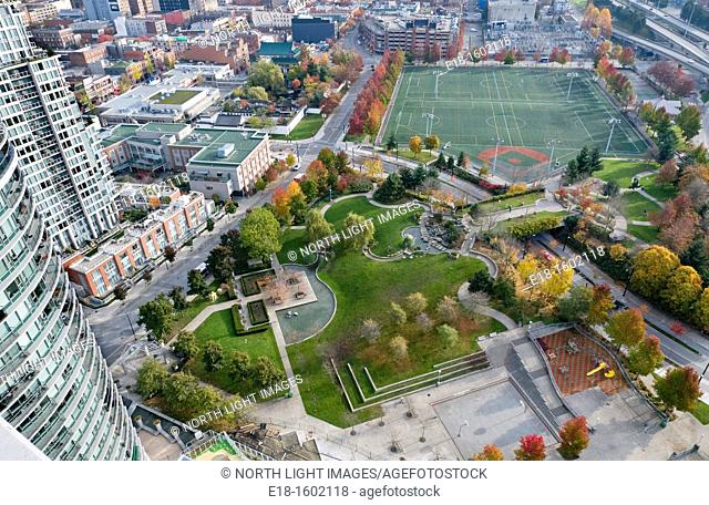 Canada, BC, Vancouver.  Overhead view of Andy Livingstone Park.  Surrounded by the city's Downtown East and Chinatown