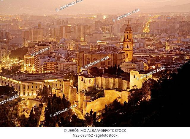 In front the moorish Alcazaba, and the cathedral. Málaga province. Spain