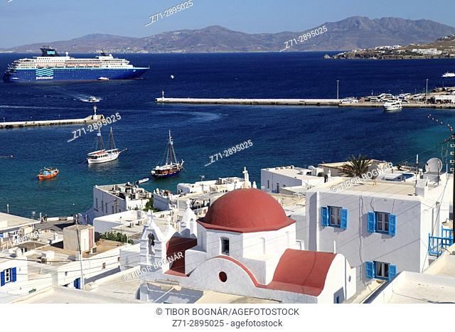 Greece, Cyclades, Mykonos, Hora, harbour, ships, boats,