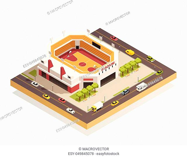 Basketball arena sport center competitions stadium with outdoor area and adjacent streets isometric composition vector illustration