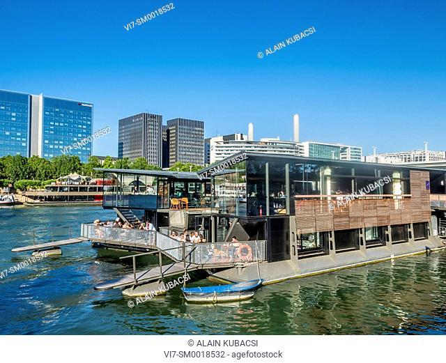 Floating hotel-bar 'OFF Paris Seine', River Seine bank, Port d'Austerlitz, Paris, France