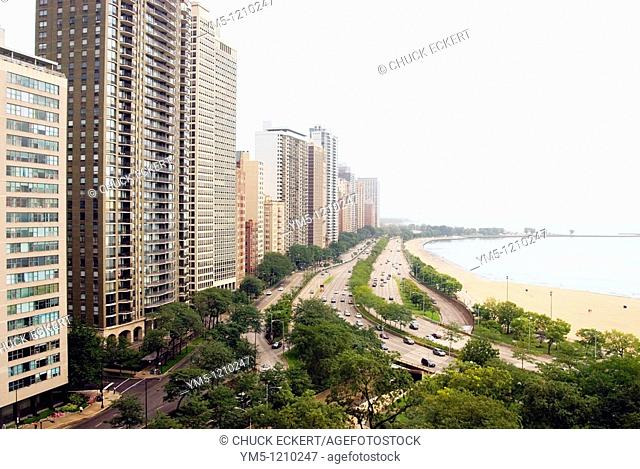 Chicago's Gold Coast District  Lake Shore Drive, Lake Michigan, and Oak Street Beach