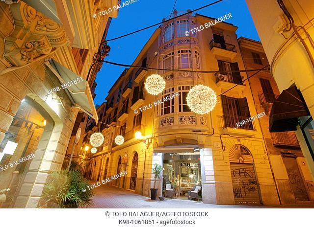 Art nouveau building, Carrer Paraires street, Palma de Mallorca. Majorca, Balearic Islands, Spain