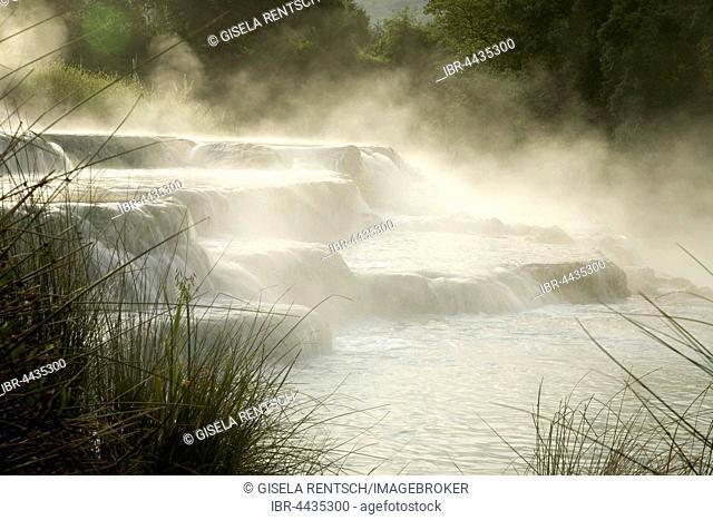 Waterfall, steaming water, Naturtherme Saturnia, hot springs, Manciano, Tuscany, Italy