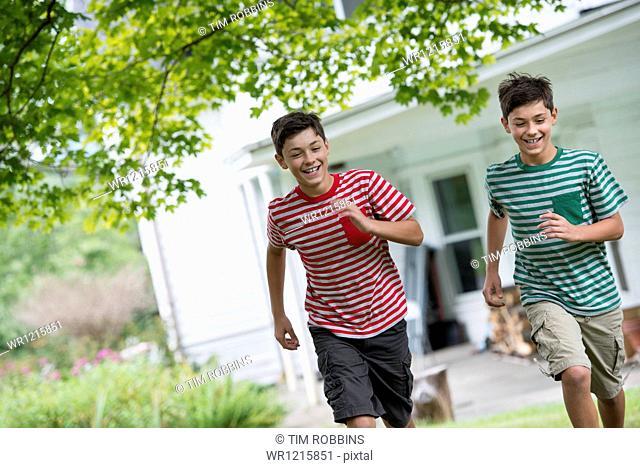Two boys in a farmhouse garden in summer