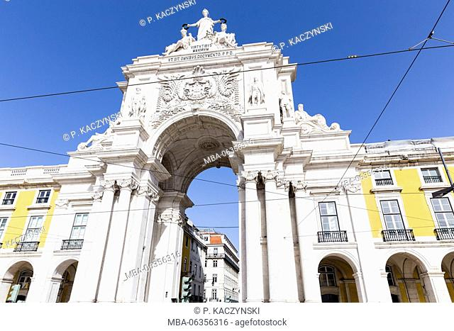 Arch,Arco Triunfal da Rua Augusta,blue sky,Capital Cities,City,City Gate,Colour Image,Europe,Famous Place,Lisbon,No People,Outdoors,Photography,Portugal