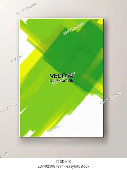 Business design templates. Brochure with Green Paint Backgrounds. Abstract Modern Decoration. Vector Illustration