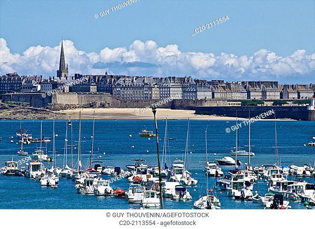 Saint Malo seen from the sea with boats, city walls and saint Vincent cathedral, Saint Malo, Ille et Villaine ,35, Brittany, France