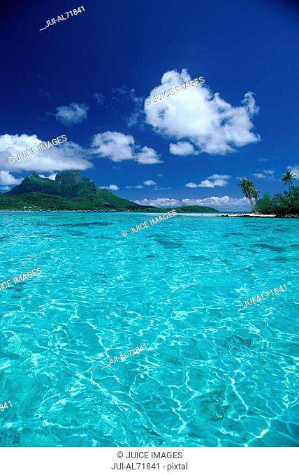 View of clear water in Bora Bora, Society Islands, French Polynesia