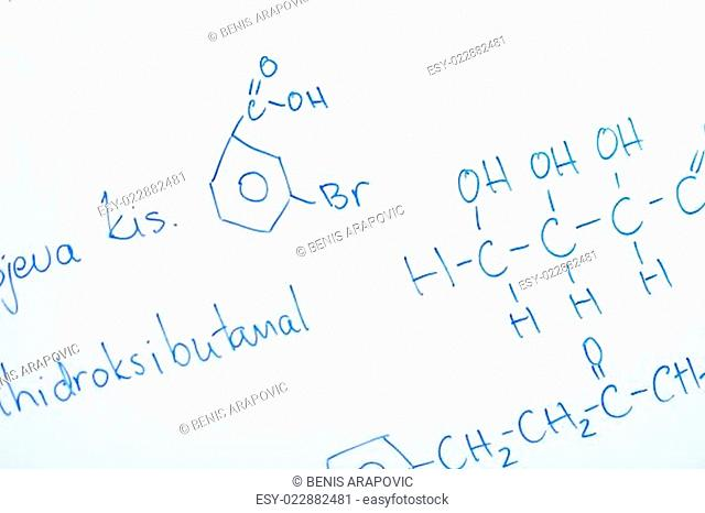 chemical molecule structure on white boar
