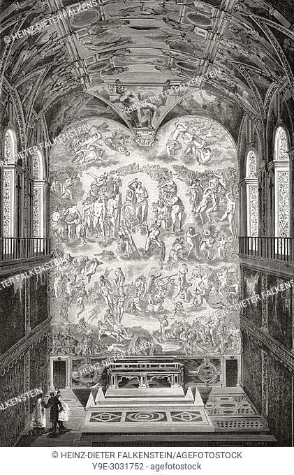 The Sistine Chapel, Vatican City, Rome, Italy, 19th Century