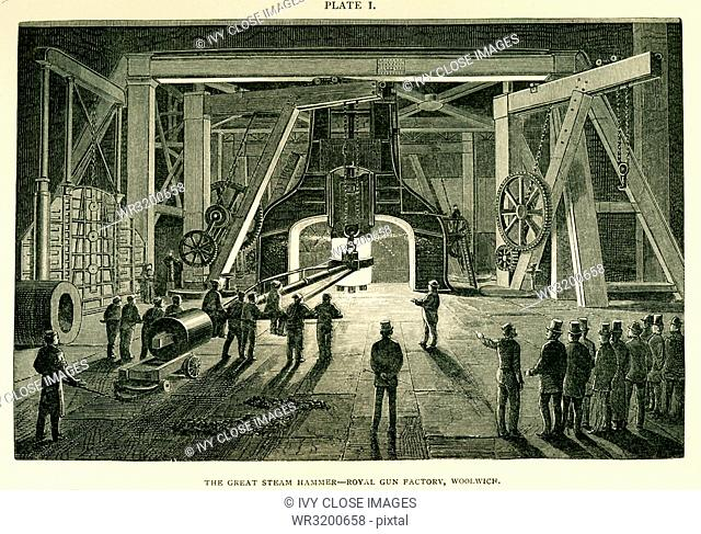 This illustration dates to the 1870s and shows the Great Steam Hammer Royal Gun Factory Woolwich. The hammer was, at the time