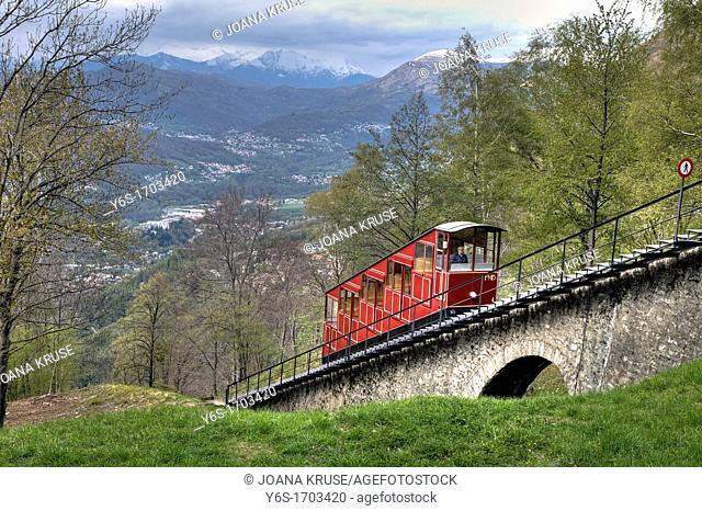 Funicular, Monte Bre, Lugano, Ticino, Switzerland