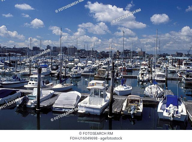South Portland, ME, Maine, Boats docked at Sunset Marina in South Portland Harbor on Casco Bay