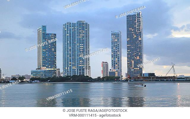 USA , Florida, Miami City , Down Town Skyline at sunset