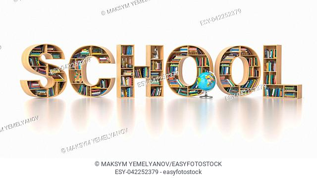 School from bookshelf with book in form of letters isolated on white background. Back to school concept. 3d illustration