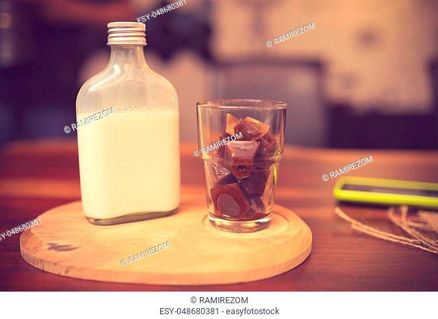 Milk and vanilla pod vintage color