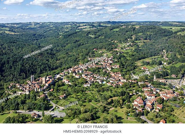 France, Lot, Cardaillac, labelled Les Plus Beaux Villages de France (The Most beautiful Villages of France), the village (aerial view)