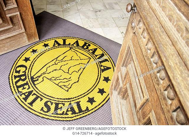 Alabama, Montgomery, State Capitol Building, wood door, rug, Great Seal, entrance