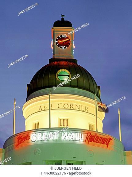 Neuseeland, Suedinsel, Napier, Art Deco turm ABB Corner | new zealand South island, Napier,tower , art nouveau in twilight