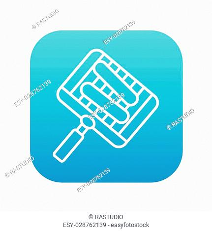 Grilled sausages on the grate for the barbecue line icon for web, mobile and infographics. Vector white icon on the blue gradient square with rounded corners...