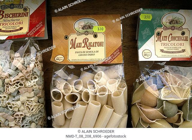 Close-up of pasta rigatoni packets, Norcia, Umbria, Italy