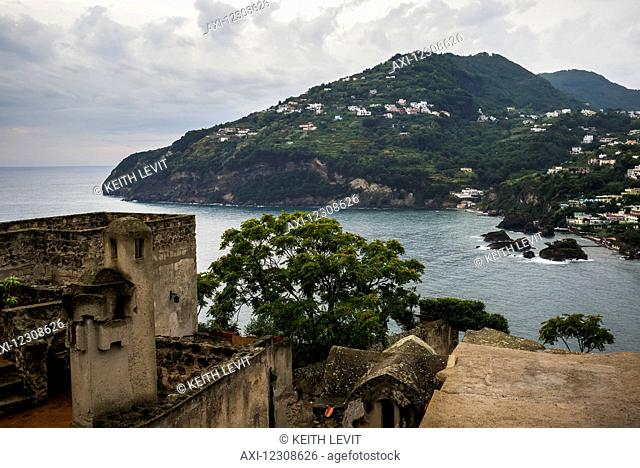 Aragonese Castle and island of Ischia; Ischia, Campania, Italy