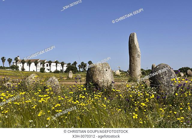 cromlech of Xerez near the perched village Monsaraz, Municipality of Reguengos de Monsaraz, Alentejo region, Portugal, southwertern Europe