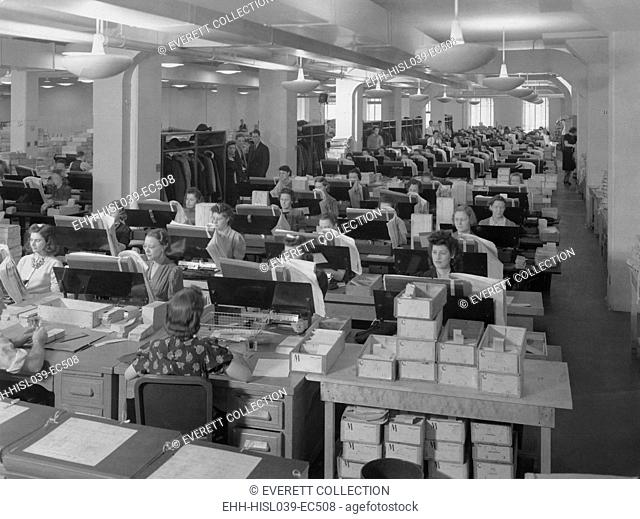 A room full of women Card Punch Operators working on the 1940 census. - (BSLOC-2015-1-224)