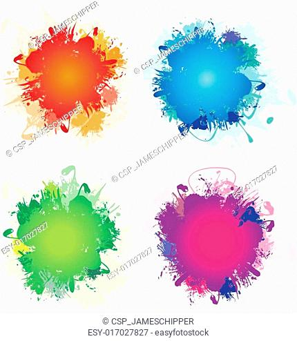 a set of four colourful ink splashe