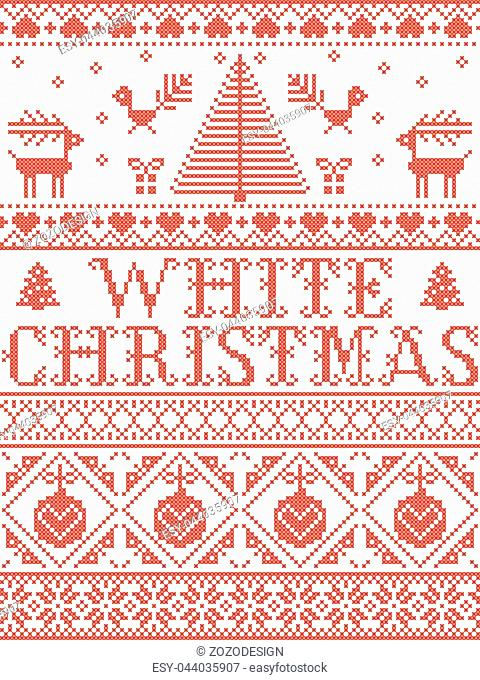 Christmas pattern White Christmas carol vector seamless pattern inspired by Nordic culture festive winter in cross stitch with heart, snowflake, snow