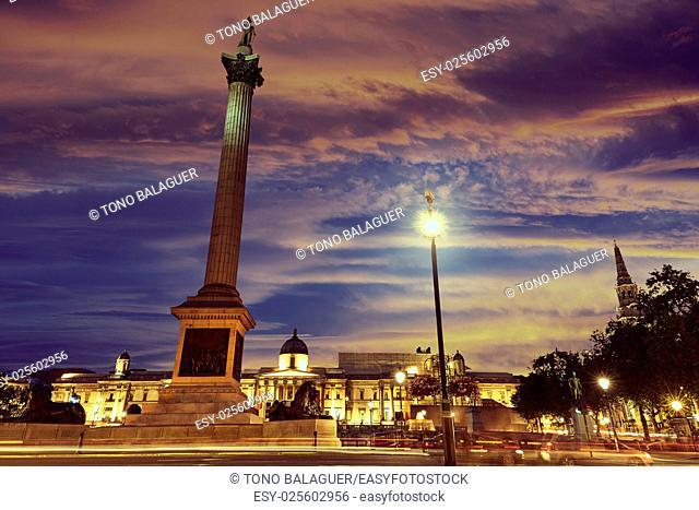 London Trafalgar Square sunset Nelson column in England