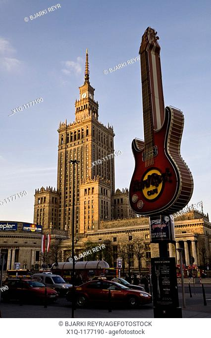 Palace of Culture and Science and a Hard Rock Cafe sign, Warsaw Poland