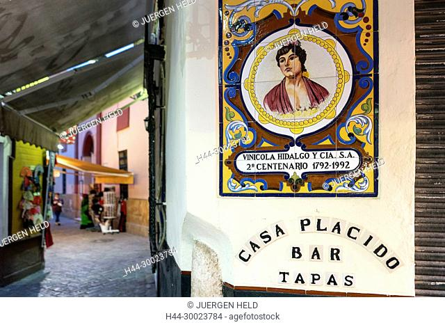 La Gitana Tiles tile bar pub Cafe restaurant, Tapas, Andalucia, Spain, Seville, Andalucia, Spain