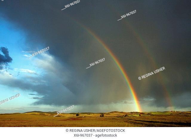 Rainbow over farmland, Sao Marcos Great Bustard reserve, Alentejo, Portugal