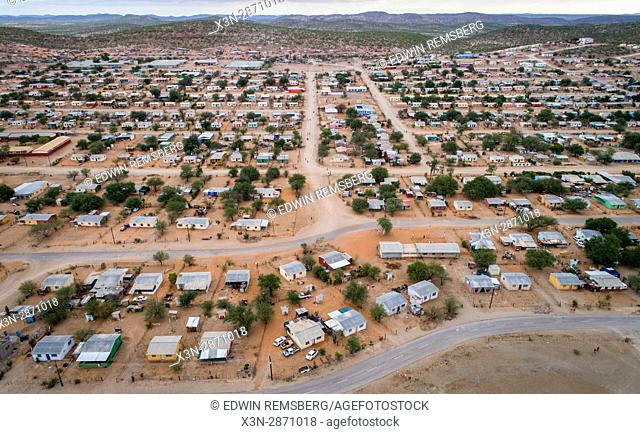 Overhead view of the town of Khorixas, located in the Kunene Region of Namibia, Africa