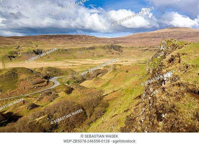 The Fairy (Faerie) Glen near Uig. A bizarre and delightful miniature landscape of grassy, cone-shaped hills on the Isle of Skye, Inner Hebrides, Scotland, UK