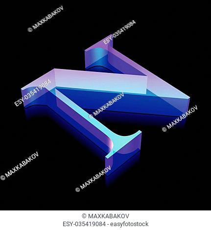 Alphabet collection: 3d neon glowing character N made of glass with reflection on Black background, EPS 10 vector illustration