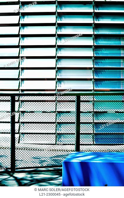 Detail, Agbar tower by Jean Nouvel. Poblenou, 22 @ district, Barcelona, Catalonia, Spain