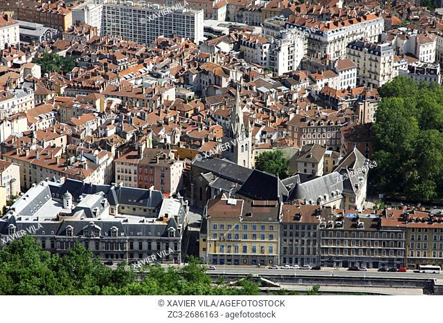 Old city center of Grenoble, Historic downtown, Isere, Auvergne Rhone Alpes, France