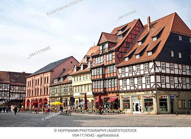 Market square in Quedlinburg, Harz, Germany, Europe