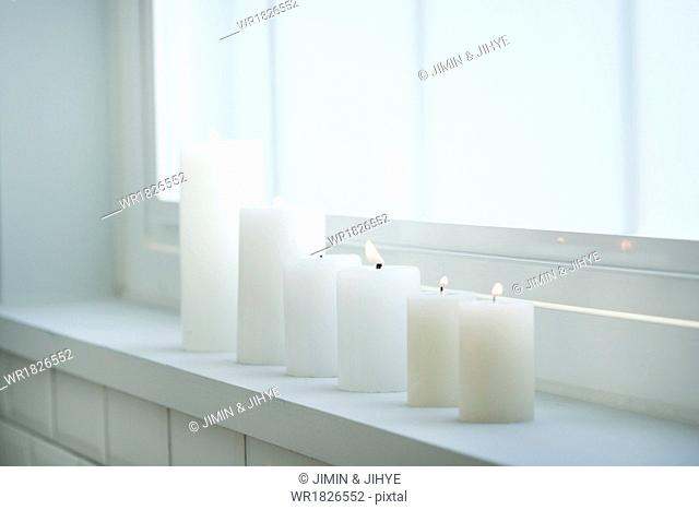 a set of candles in a row