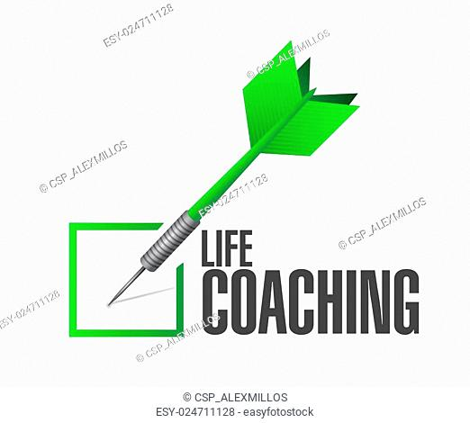 life coaching check dart sign concept